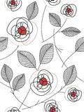 Abstract rose pattern. Easy closeup pattern in color black and red Stock Images