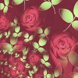 Abstract roses blossoms pastel red and light green leaves on dark red overlaying. Abstract floral background. roses blossoms in different sizes pastel red and stock illustration