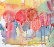 Abstract roses bouquet. In vase, watercolor   painting of me and my two-years old daughter Royalty Free Stock Photos