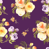 Abstract roses flower watercolor seamless pattern in. Dark Royalty Free Stock Photos