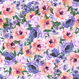 Abstract roses flower watercolor seamless pattern. Violet roses flower watercolor seamless pattern Stock Image