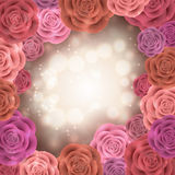 Abstract roses frame Stock Photos