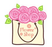 Abstract roses in a kraft package. Flower shop. Vector design Stock Photos