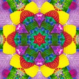 Abstract rosette kaleidoscope in brilliant green, blue, neon, yellow, red and magenta. Rosette kaleidoscope in brilliant green, blue, neon, yellow, red and royalty free illustration