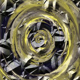 Abstract rotating cracked circular background with spirals resembling molten metal. Gold, white and black background creating an illusion of movement. 3d Stock Photography