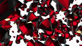 Abstract rotating,flying gems in red on white stock video footage