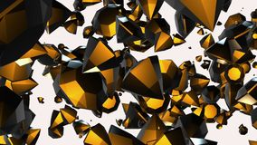 Abstract rotating,flying gems in yellow on white stock video footage