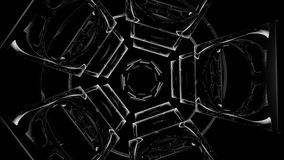 Abstract rotating pieces black and white stock video