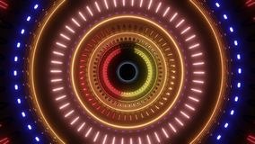 Abstract rotating tunnel with multi color lights royalty free illustration