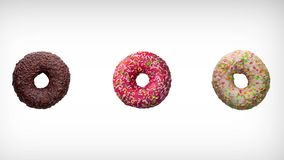 Abstract rotation animation of of three different colorful donuts on white background. vector illustration