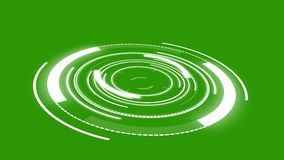 Abstract round animation of a Futuristic Sci-Fi HUD. Green screen stock illustration