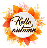 Abstract round autumn banner. Abstract autumn banner with orange and yellow falling leaves. Hello autumn lettering Royalty Free Stock Photography
