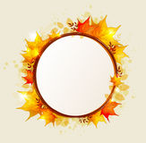 Abstract round autumn banner. With red and orange leaves Royalty Free Stock Photos
