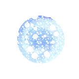 Abstract round background in shades of blue with splashes white. Winter watercolor circle Stock Image