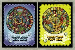 Abstract round backgrounds. Vector vintage hippie cards set of abstract round backgrounds Stock Image