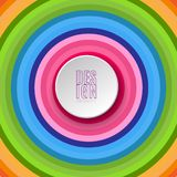 Abstract round banner with text Design element on bright colorful background of swirling lines of circles Element for the design vector illustration