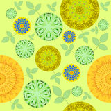 Abstract round blossoms yellow orange green blue with leaves. Abstract geometric background, seamless floral pattern, various circular blossoms in yellow, orange stock illustration