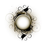 Abstract Round Button. An 3D illustration of a round button on an abstract floral design, isolated on a white background Royalty Free Stock Photos