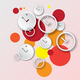 Abstract round clock with bubbles vector background. Abstract round white clock with redbubbles vector background in EPS10 format Stock Photo