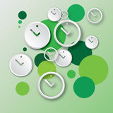 Abstract round clock vector background. Abstract round white clock with green bubbles vector background in EPS10 format Stock Photos