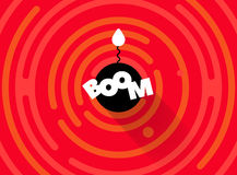 Abstract round comic BOOM background. Simple rounded line geometric shapes. Stock Photo