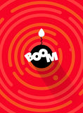 Abstract round comic BOOM bomb background, red color. Vector round line geometric shapes. Royalty Free Stock Photography