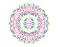 Abstract round concentric pattern from color lines. On white background Stock Illustration