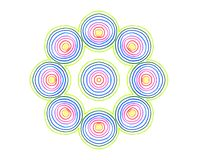 Abstract round concentric pattern from color lines. On white background vector illustration