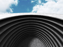 Abstract round concrete architecture on cloud sky background. 3d render illustration stock illustration