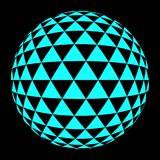 Round trianlgle medium blue. Abstract round 3d bright blue sphere consisting of triangle. Scientific and technical frame illustration. Flat cartoon illustration Stock Photos