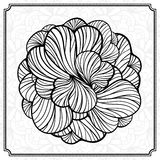 Abstract round design element. Vector abstact black and white round floral coloring element vector illustration