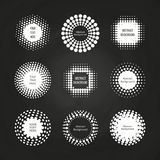 Abstract round dotted banners - halftone labels set on chalkboard Stock Photos