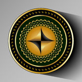 Abstract round figure. Decorative plate with abstract figure in the form of black gold rhombus in the middle Stock Photos