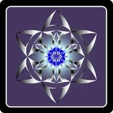 Abstract round figure. Made up of six petals on violet blue background Stock Image