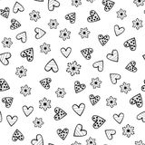 Abstract round flowers and decorated outlines of hearts. Seamless pattern. Stock Photography