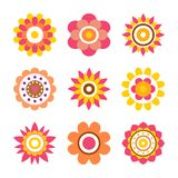 Abstract Round Fowers Made of Circle Cartoon Style. Abstract round flowers made of circles in cartoon style, geometric shape flowers with heart and dots vector illustration