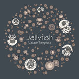 Abstract round frame with cartoon jellyfish Stock Images