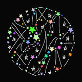 Abstract round frame with colored bright stars on black background. Vector Royalty Free Stock Image