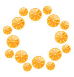 Abstract Round Frame with Sliced Oranges Royalty Free Stock Photo