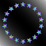 Abstract Round Frame of Stars with Realistic Holographic Effect. Royalty Free Stock Photography