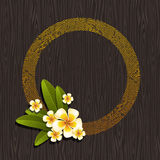 Abstract round frame & tropical flowers Royalty Free Stock Photography
