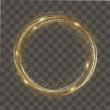 Abstract round glowing lights and gold sparkles on transparent background. Vector Stock Photo
