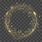 Abstract round glowing lights and gold sparkles on transparent background. Vector Stock Image