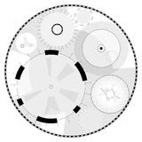 Abstract round high-tech mandala with circles. Space Time machine. Transparent fill up screen or monitor. Isolated central sight of wheels. Subtle mechanical stock illustration
