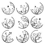 Abstract round icons framed tree branches and flock of birds. Set of round icons stylized tree branches and birds with its shadow Stock Photos