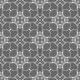 Abstract round lines seamless pattern background illustration in black and white Stock Images