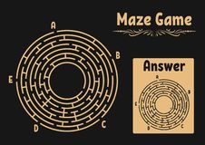 Abstract round maze. Game for kids. Puzzle for children. Labyrinth conundrum. Flat vector illustration isolated on color backgroun. D. With answer. Vintage style royalty free illustration