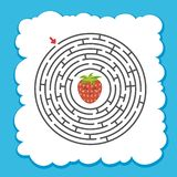 Abstract round maze. Game for kids. Puzzle for children. One entrance, one exit. Labyrinth conundrum. Cute character. Flat vector. Illustration. Cartoon style vector illustration