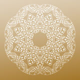 Abstract round microchip pattern  on golden background, mandala template with connecting dots and lines Stock Images
