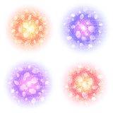 Abstract round powder clouds set with dust particles  on white background. Colorful circles with glow and bokeh. Effect. Elements for Holi, carnival banners Stock Photography